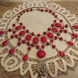 Ethnic Red Stone and Silver-Toned Necklace